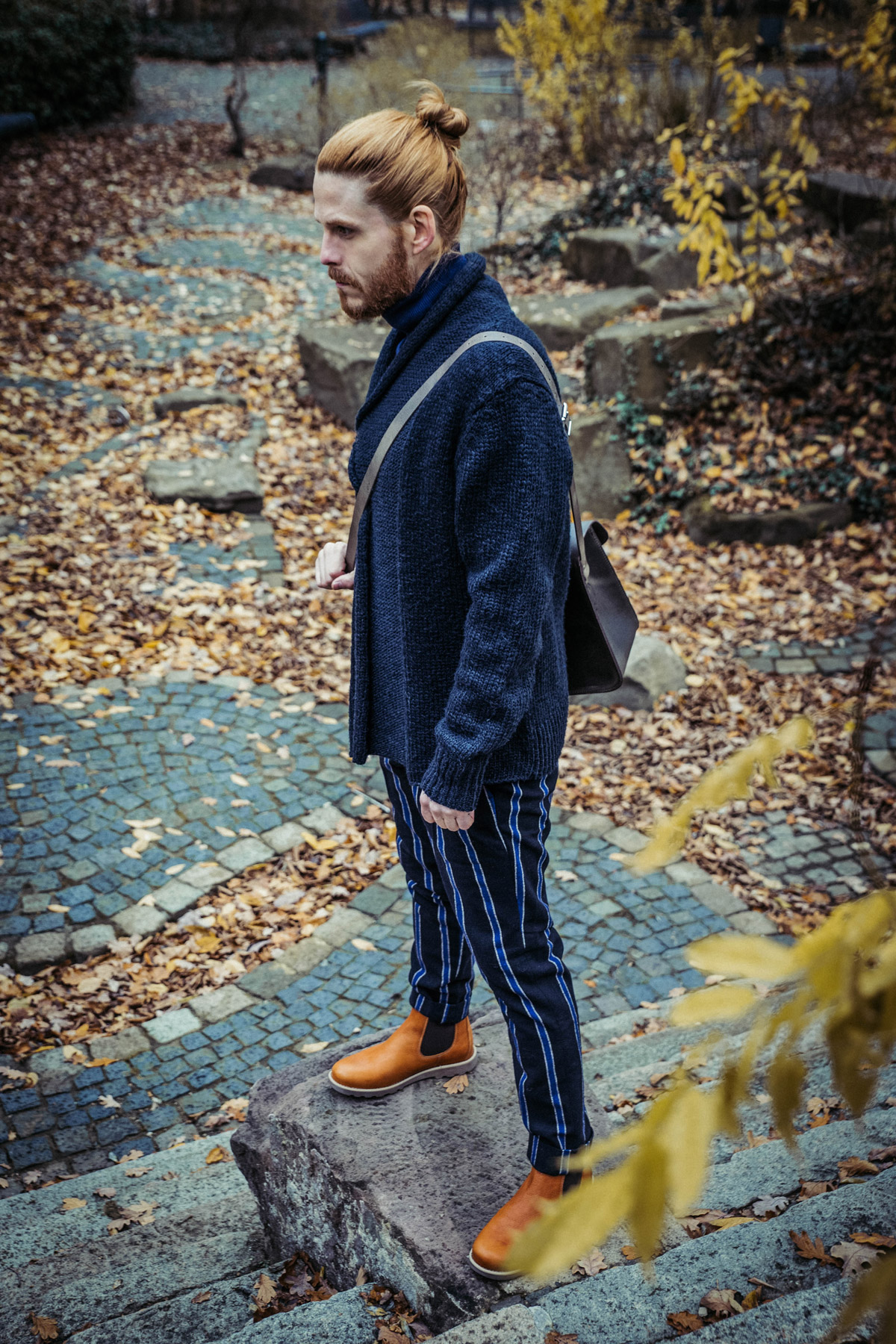 Maennermode-Influencer-Winterlook-Outfit-Strickjacek-Boots-Ledertasche